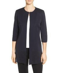 Ming Wang | Blue Long Collarless Jacket | Lyst