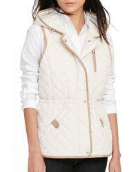 Lauren by Ralph Lauren | Natural Hooded Quilted Vest | Lyst