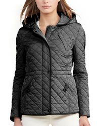 Lauren by Ralph Lauren | Black Faux Leather Trim Quilted Anorak | Lyst