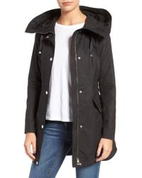 Guess | Black Lace-up Hooded Utility Coat | Lyst