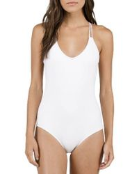 Volcom | White Simply Solid One-piece Swimsuit | Lyst