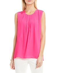 Vince Camuto | Pink Pleat Neck Blouse | Lyst