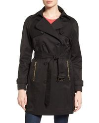MICHAEL Michael Kors | Black Belted Double Breasted Trench Coat | Lyst