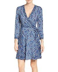 BCBGMAXAZRIA | Blue Graphic Wrap Dress | Lyst