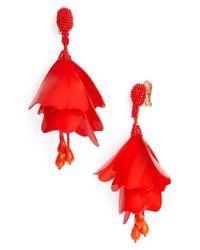 Oscar de la Renta | Red Large Impatiens Flower Clip Earrings | Lyst