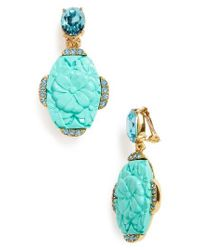 Oscar de la Renta   Blue Crystal Drop Earrings   Lyst