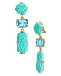 Oscar de la Renta   Blue Carved Resin & Swarovski Crystal Clip Earrings   Lyst