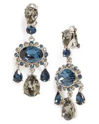 Oscar de la Renta - Blue Crystal Drop Earrings - Lyst