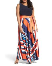 Eliza J | Red Tile Print Jersey & Crepe Maxi Dress | Lyst