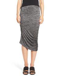Trouvé | Black Ruched Midi Skirt | Lyst