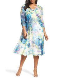 Komarov | Blue Floral Print A-line Dress | Lyst
