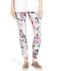 Hue | Pink Rose Print Leggings | Lyst