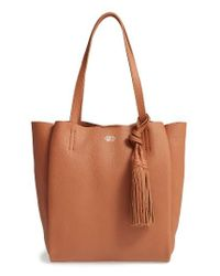 Vince Camuto | Brown Small Taja Leather Tote With Tassel Charm | Lyst