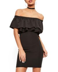 Missguided - Black Bardot Ruffle Bodice Dress - Lyst