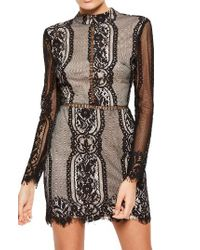 Missguided | Black Open Back Lace Dress | Lyst
