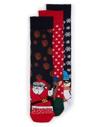 TOPMAN | Multicolor Christmas Character 3-pack Socks, Black for Men | Lyst