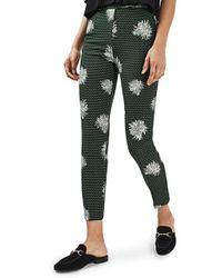 TOPSHOP   Green Floral Spot Pants   Lyst