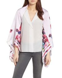 Ted Baker | Pink Ellila Expressive Pansy Floral Cape Scarf | Lyst
