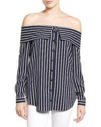 Pleione - Blue Off The Shoulder Shirt - Lyst