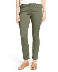 Jen7 | Green Colored Stretch Ankle Skinny Jeans | Lyst