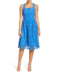 Adelyn Rae | Blue Lace Fit & Flare Dress | Lyst