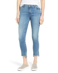 Kut From The Kloth Blue Reese Frayed Straight Leg Ankle Jeans