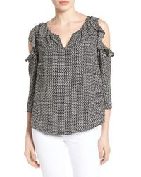 Gibson | Black Ruffled Cold Shoulder Blouse | Lyst