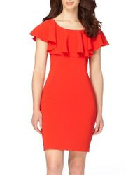 Tahari | Red Ruffle Body-con Dress | Lyst