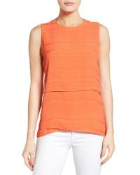 Chaus - Orange Crinkle Woven Sleeveless Blouse - Lyst