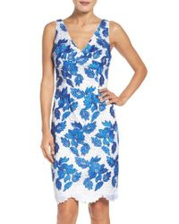 Adrianna Papell | Blue Two-tone Guipure Lace Sheath Dress | Lyst