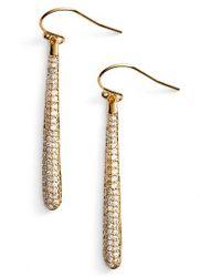 kate spade new york | Metallic Shine On Pave Linear Drop Earrings | Lyst