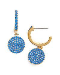 kate spade new york | Blue Shine On Pave Drop Earrings | Lyst