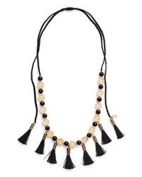 Kate Spade | Black Moroccan Tile Tassel Necklace | Lyst
