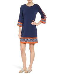 MICHAEL Michael Kors | Blue Michael Michael Kros Border Print Jersey A-line Dress | Lyst