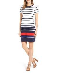 MICHAEL Michael Kors   Blue Stripe Ottoman T-shirt Dress   Lyst