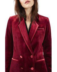 TOPSHOP - Red Velvet Suit Jacket - Lyst