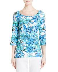 St. John | Blue African Palm Print Jersey Tee | Lyst