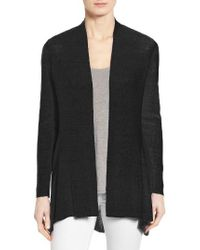 Eileen Fisher | Black Shaped Organic Linen Blend Cardigan | Lyst