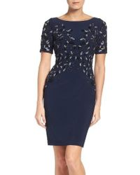 Adrianna Papell | Blue Embellished Cocktail Dress | Lyst