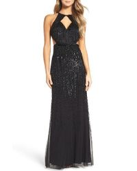 Adrianna Papell   Black Beaded Halter Gown   Lyst
