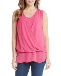 Karen Kane | Pink Drape Front Layered Top | Lyst
