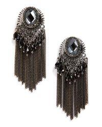 Natasha Couture | Black Beaded Fringe Earrings | Lyst