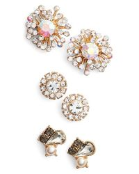 Natasha Couture | Metallic Set Of 3 Stud Earrings | Lyst