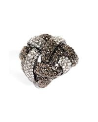 Natasha Couture | Black Woven Crystal Stretch Ring | Lyst
