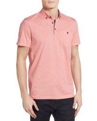 Ted Baker | Purple Cocoa Contrast Collar Stripe Polo for Men | Lyst