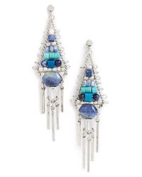 Treasure & Bond - Blue Beaded Fringe Chandelier Earrings - Lyst