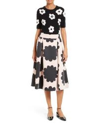 kate spade new york | Black Embellished Floral Intarsia Sweater | Lyst