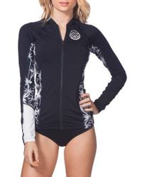 Rip Curl | Black Wetty Front Zip Rashguard Top | Lyst