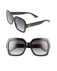 Gucci | Black 54mm Square Sunglasses | Lyst