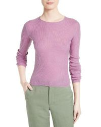 Vince   Purple Rib Knit Crop Pullover   Lyst
